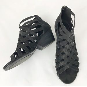 Eileen Fisher Black Oodles Cage Sandals, 9